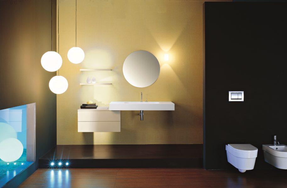 Lavabo sospeso in solid surface e mobile bagno sospeso | Progetto Bagno