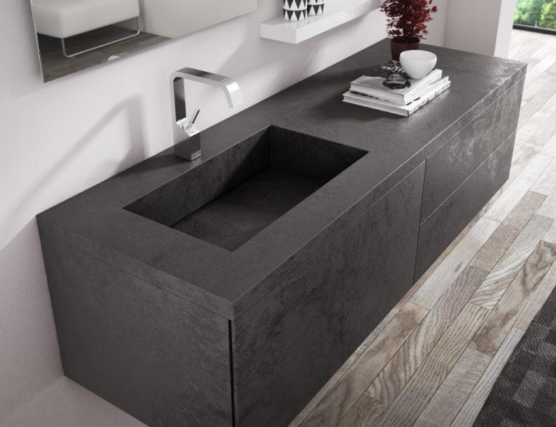 Mobile per bagno in LAMINAM resistente ai graffi e all'usura - Progetto Bagno