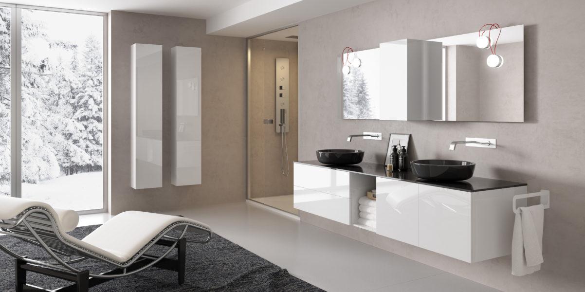 Composizione arredo bagno di design con cassetti da 80cm e vano a giorno 80cm | Progetto Bagno