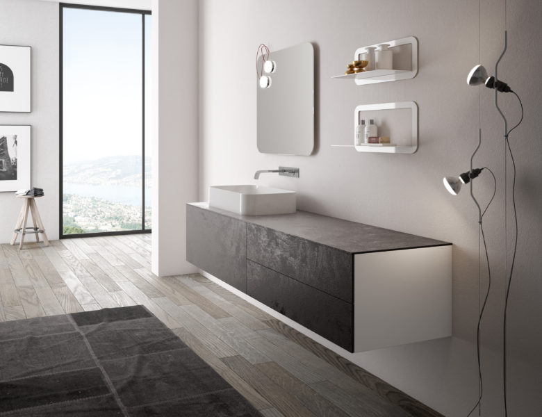 Soluzione per bagno di design con elementi in LAMINAM - Progetto Bagno