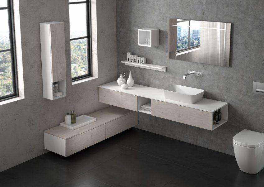 Arredo bagno 205 cm con mobile sospeso altezza 25 cm in laminato effetto larice bianco | Progetto Bagno
