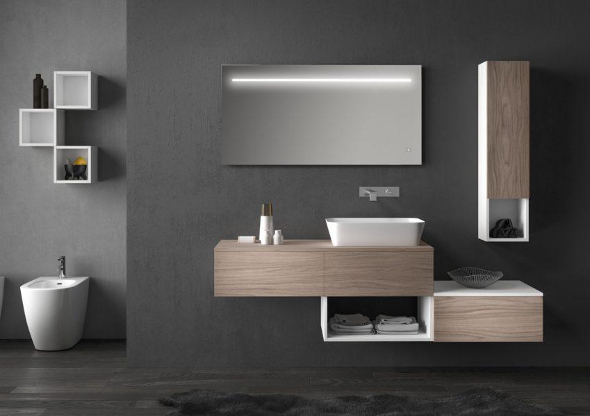 Mobili da bagno effetto legno noce con base lavabo altezza 50 cm | Progetto Bagno