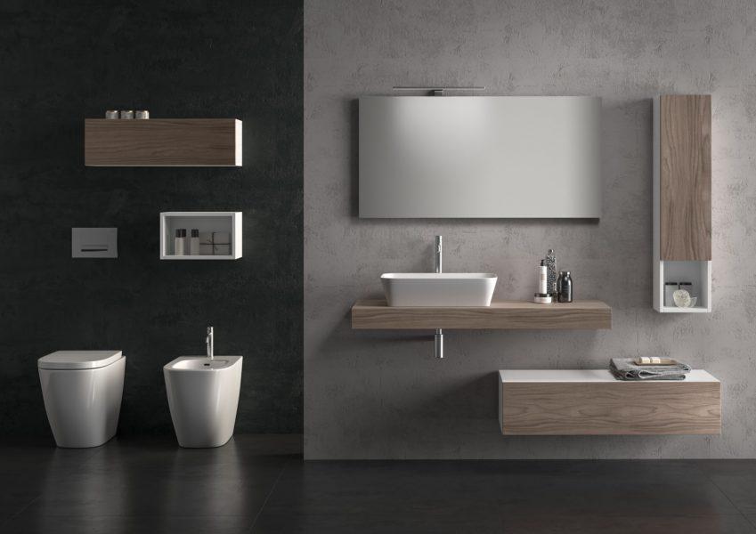 Arredo bagno con top sospeso 120 cm in noce e lavabo da appoggio 56 x 36 x 12 cm | Progetto Bagno