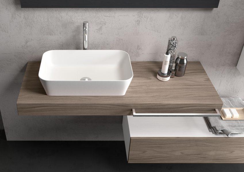 Soluzione arredo per bagno design moderno in noce visone | Progetto Bagno