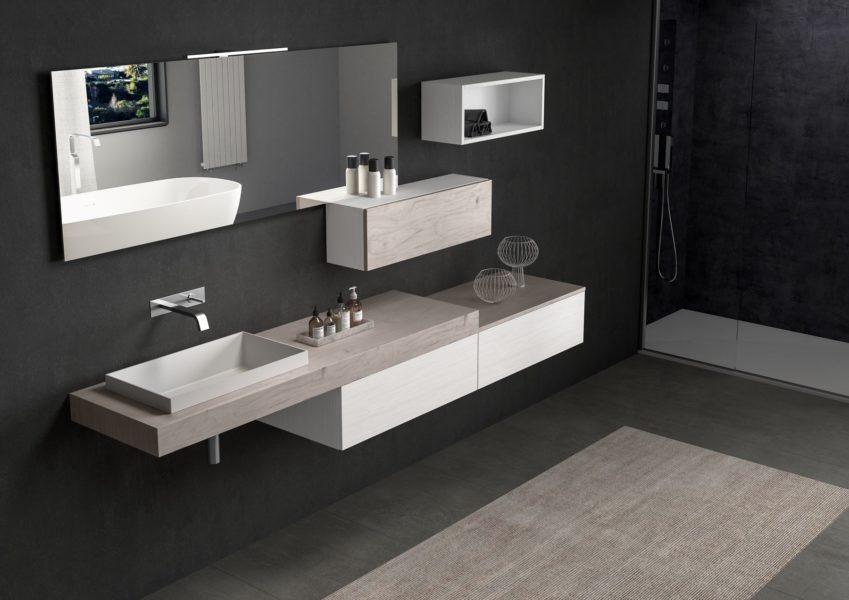 Arredo bagno con top sospeso altezza 10 cm effetto legno buckeye e lavabo da appoggio | Progetto Bagno