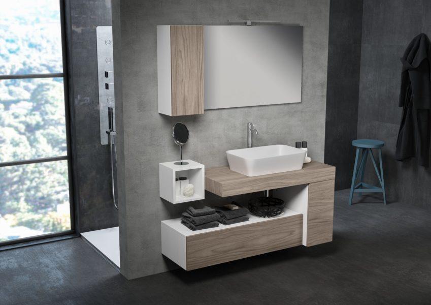 Arredo modulare per bagno di design con specchio 60 x 100 cm | Progetto Bagno