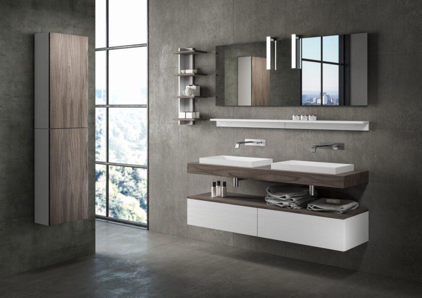 Proposta di arredo per bagno design moderno con top e doppio lavabo da appoggio | Progetto Bagno