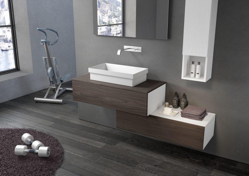 Arredo per bagno di design con mobili altezza 46 cm e lavabo da appoggio | Progetto Bagno