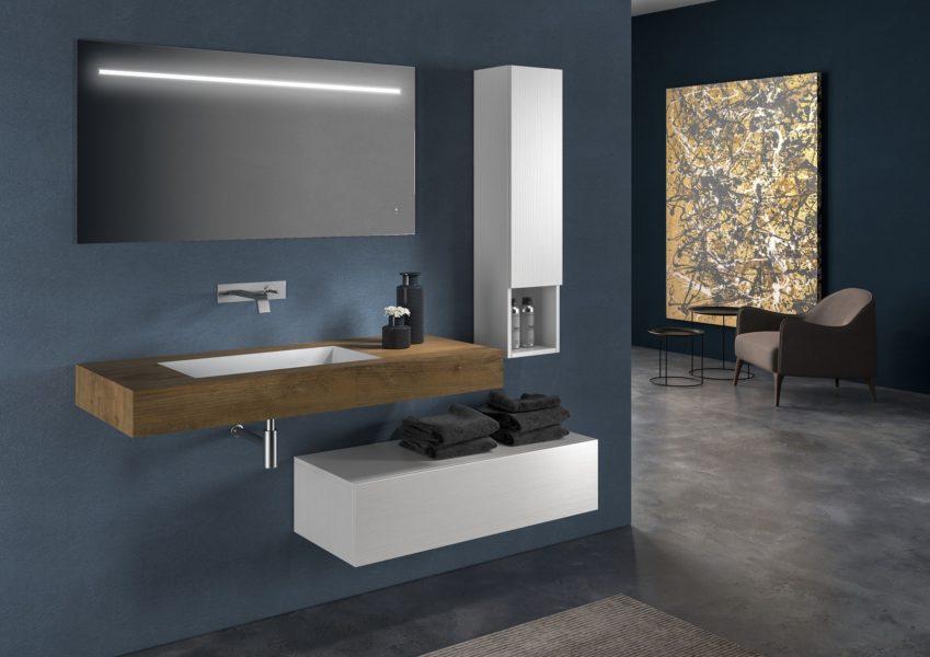 Proposta di arredo bagno design moderno con specchio retroilluminato a led 120 x 60 cm | Progetto Bagno