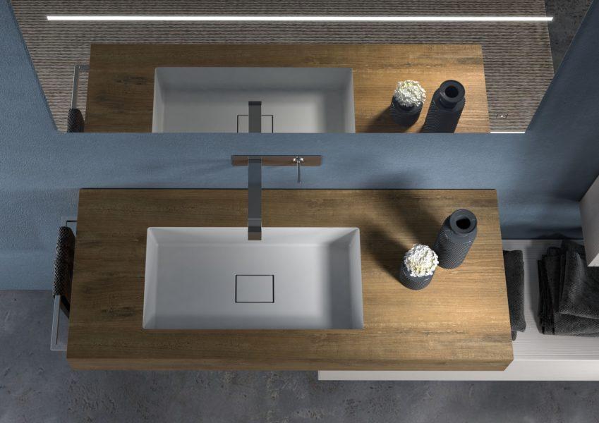Top per bagno moderno 120 x 50 cm con lavabo integrato in rovere Slavonia | Progetto Bagno