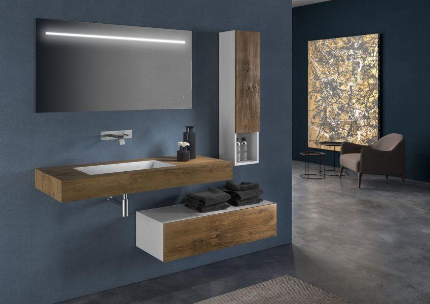Proposta di arredo bagno con top 120 cm altezza 50 cm con lavabo integrato | Progetto Bagno