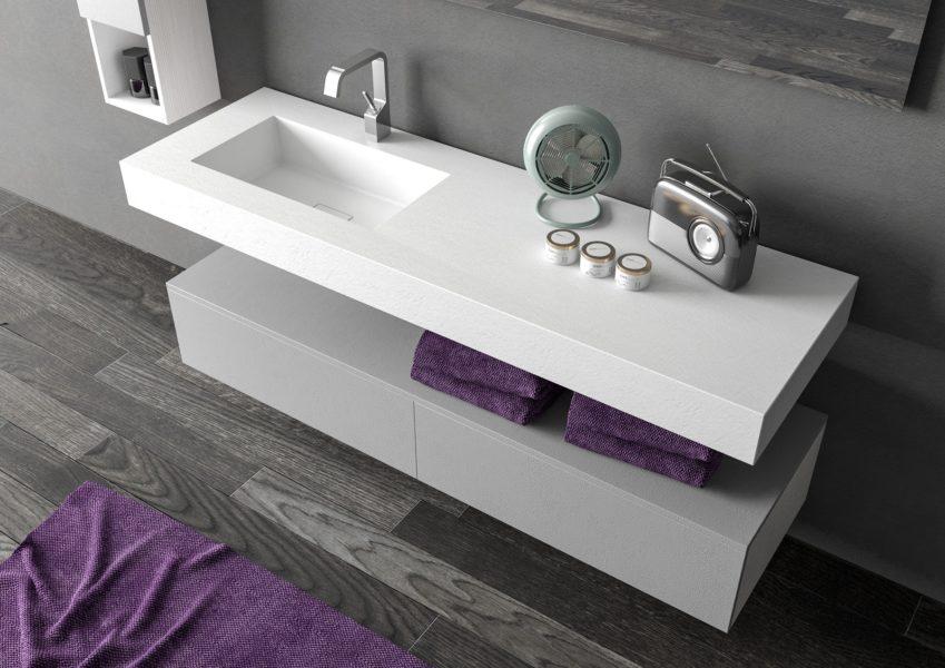 Top per arredo bagno design minimal in superficie materica 160 x 50 cm (altezza 12 cm) con lavabo integrato | Progetto Bagno