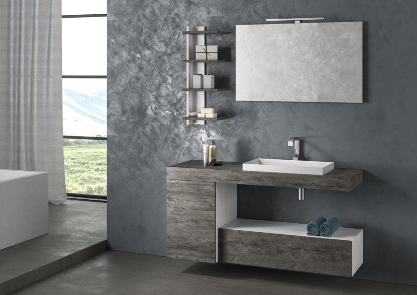 Soluzione di arredo bagno moderno e di design con mensole totem | Progetto Bagno