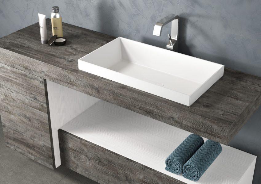 Proposta arredo bagno con lavabo bianco opaco e mobile con tp 140 cm effetto legno anticato old wood | Progetto Bagno