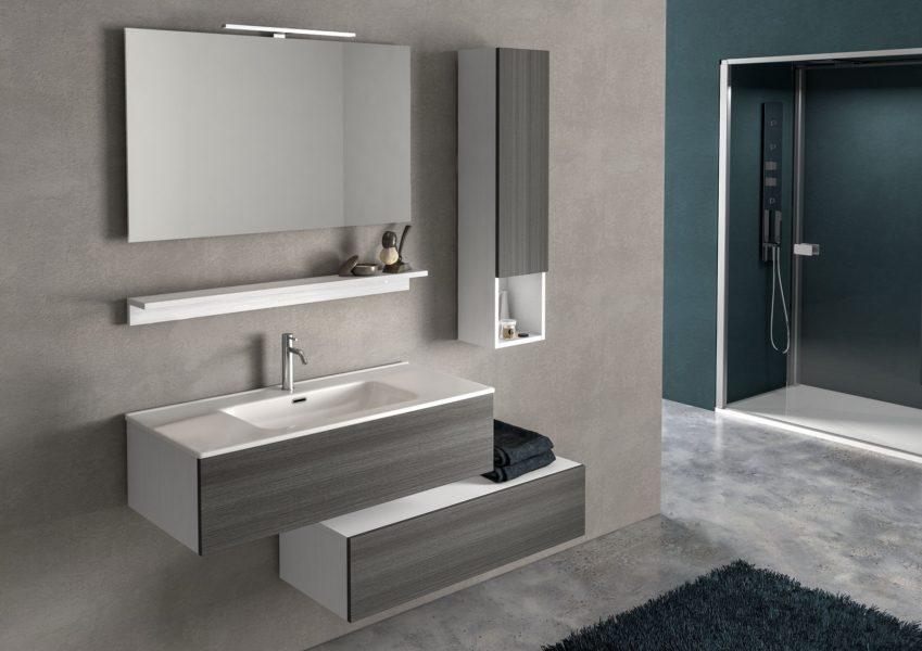 Composizione di arredo bagno con specchio, lampada a led, mensola sottospecchio e lavello in ceramica (su base 100cm) | Progetto Bagno