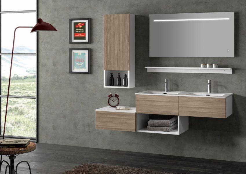 Proposta di mobili sospesi per bagno moderno in noce chiaro 105cm | Progetto Bagno