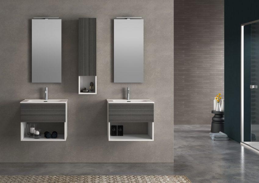 Arredo Bagno con doppio lavabo su basi separate, design minimal | Progetto Bagno