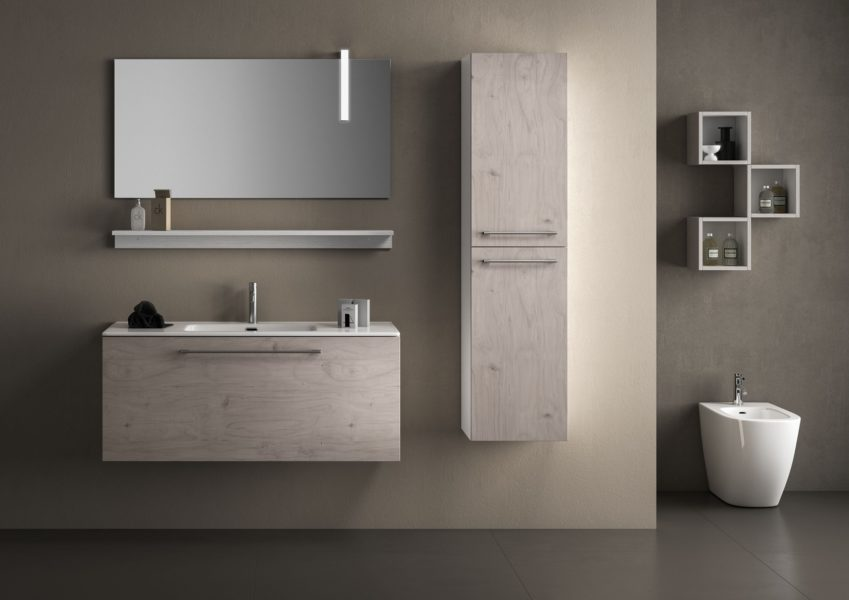 Mobile sospeso da bagno 120 cm e pensile altezza 105 effetto legno buckeye | Progetto Bagno