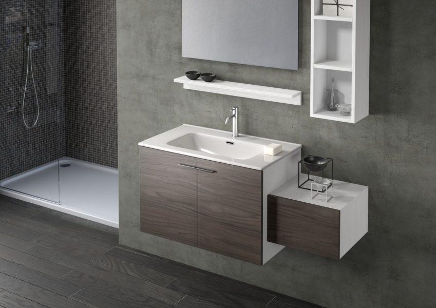 Mobile sospeso per bagno con due ante 80 cm altezza 50 cm con lavabo integrato noce moka | Progetto Bagno