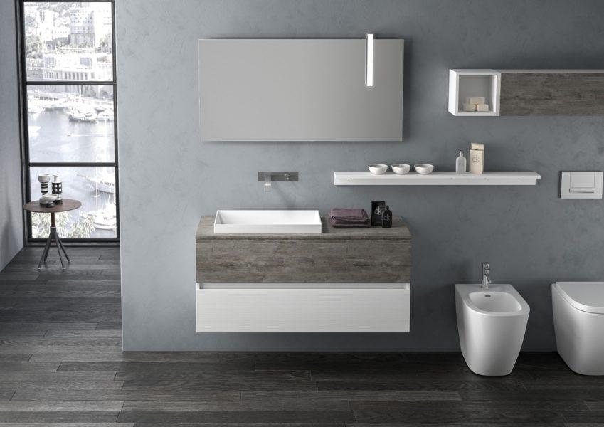 Proposta di arredo bagno moderno con mobili sospesi, mensole e pensile | Progetto Bagno