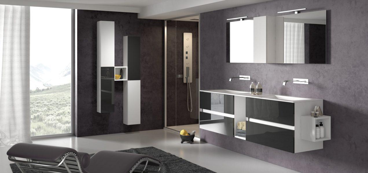 Composizione bagno di design con top 185cm in mineralmarmo e doppio lavabo integrato | Progetto Bagno