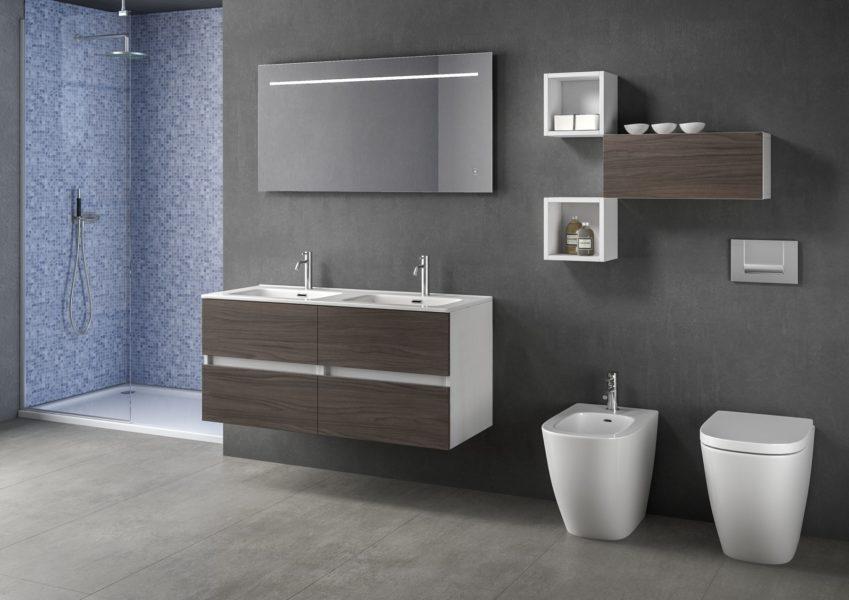 Arredo bagno modulare 120 cm con doppio lavabo in ceramica bianca | Progetto Bagno