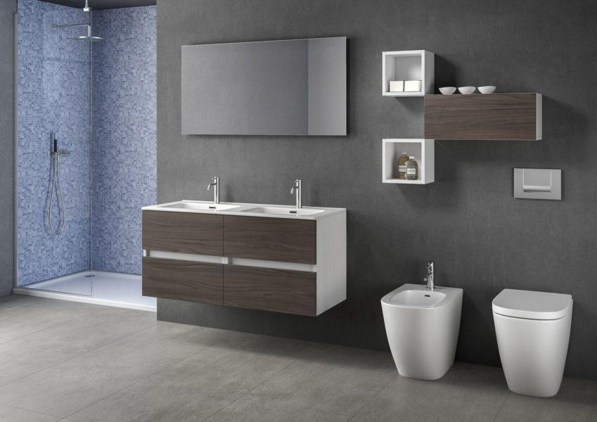 Proposta di arredo bagno con doppio lavabo e specchio con lampada LED integrata 120 x 60 Arredo bagno modulare 120 cm con doppio lavabo in ceramica bianca | Progetto Bagno